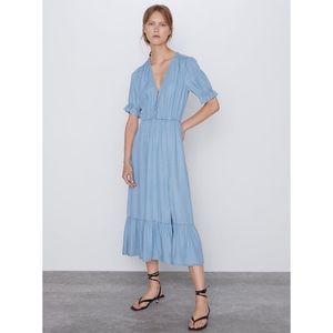 NWT Zara Blue Midi Dress M